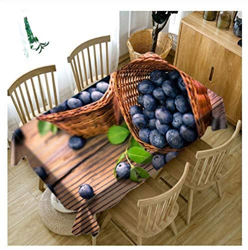 Blueberry fruits dans le panier effaçables 3D Vinyle Nappe cirée Table rectangulaire Tissu imperméable Nappes jardin durable HLSJ (Color : 120x180cm)