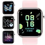 jpantech Smartwatch, Fitness Armband Tracker Voller Touch Screen Uhr IP68 Wasserdicht Armbanduhr Smart Watch mit Schrittzähler Pulsmesser Stoppuhr für Damen Kinder Sportuhr für iOS Android (Rosa)