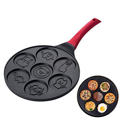 Non Stick Bratpfannen zum Frühstück, beeinflussen kleine Pfannkuchenpfanne Sieben-Loch-Pfanne zum Kochen von Spiegelei-Pfannkuchen Blinis Muffin Pan Waffles Maker für Kinder (Tier)