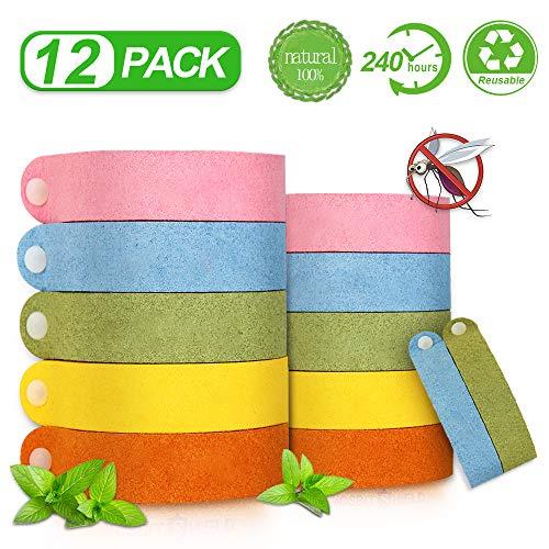 12 Stück Mückenschutz Armband, Anti Mosquito Repellent Bracelet Wasserdichtes Wristband Armband Natürliches Material Mücken Gürtel Schutz für Kinder, Erwachsene