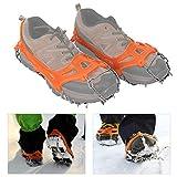 SALUTUYA Zapatos Antideslizantes de 19 Dientes Que Cubren Tacos de tracción portátiles(19 Teeth Orange, L)