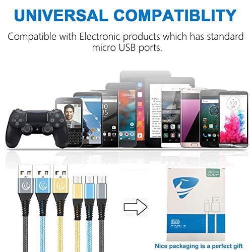 Yosou Micro USB Kabel, Ladekabel Android 2m/6.6ft 3pack Schnellladekabel Micro USB Handy Kabel für Android Smartphones Samsung S7 S6 S5 J7 J3 J5, HTC,Sony, Moto,Nexus,Huawei, LG, Kindle, PS4