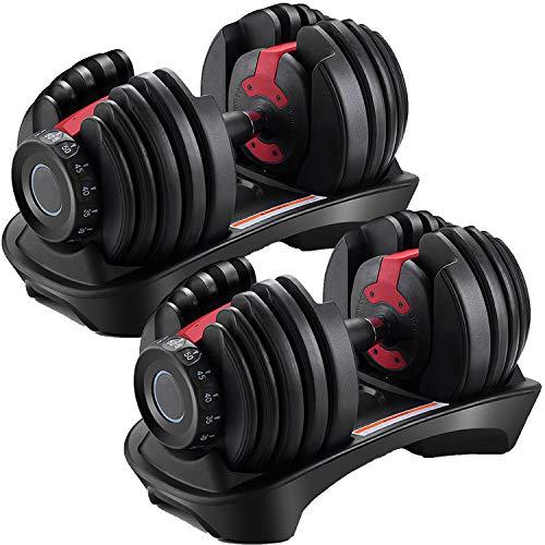 ダンベル 可変式 2個セット 可変式ダンベル 2.5kg - 24kg アジャスタブル ダンベルセット 筋トレ 器具 15段階調節 5秒で重量調整 ダイヤル 筋トレ グッズ