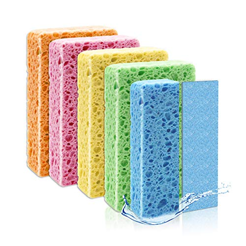 Cleaning Colored Sponge, Compressed Absorbent Sponge, Double Scrubbing Sides Cellulose Scrub Kitchen Cleaning Scrub Sponge, Reusable & Biodegradable, Random Color Matching (10PACK)