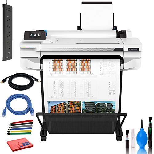 "HP DesignJet T530 24"" Large Format Printer - Color Ink Jet - (5ZY60A#B1K) with Power Strip + Printer Cable + Cat5 Cable + Wire Ties and More - Advanced Bundle"
