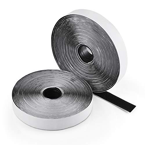 Heatigo Klettband Selbstklebend Extra Stark, Klettband Klebend 8m Lange 20mm Breit Flauschband und Hakenband(Schwarz)
