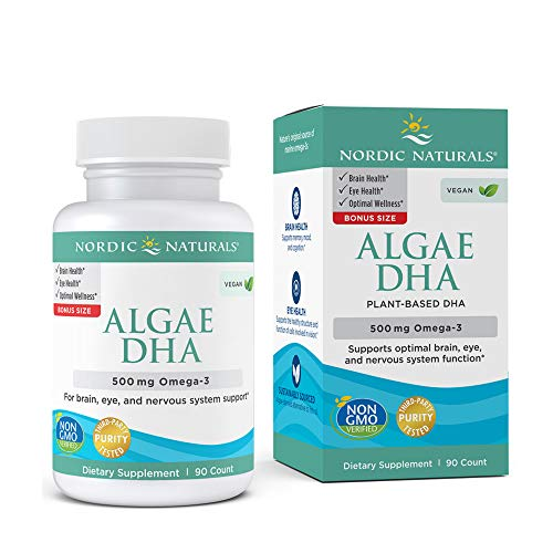 Nordic Naturals Algae DHA - 500 mg Omega-3 DHA - 90 Soft Gels - Certified Vegan Algae Oil - Plant-Based DHA - Brain, Eye & Nervous System Support - Non-GMO - 45 Servings