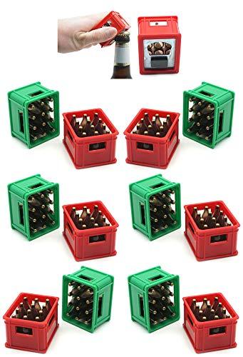 Flaschenöffner Öffner Kapselheber für Kronkorken mit Magnet im Bierkisten Design 12 Stück Set