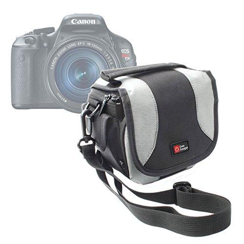 DURAGADGET Bolso Negro Y Gris para Las Cámaras Canon PowerShot SX410 IS | Nikon Coolpix P610 | L840 | Pentax XG-1
