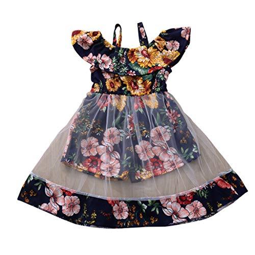 Kobay Frühling und Sommer Kleinkind Kinder Baby Mädchen Blumenweste Blumen Rüschen Mesh Kleid Sommerkleidung