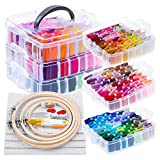 Embroidery Floss Kit for Beginners with Organizer, Shynek 260 Pcs Cross Stitch Supplies Embroidery Starter Kit Include 204 Colors Embroidery Floss, 4 Bamboo Hoops, 4 Aida Cloth and 44 Pcs Tools for Be