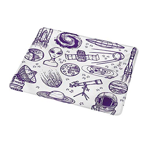 Design Gaming Mouse Pad Outer Space,Minimalist Space Graphic Satellite Orbit Radar Saturn Telescope Space Theme,Purple White 7x8.6 inch for Computer