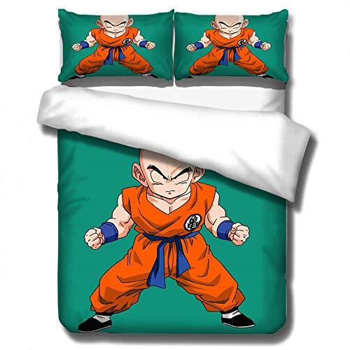 Juego de ropa de cama con funda nórdica de animación para niños 3D Dragon Ball ropa de cama suave, cómoda duradera niños niñas, cama individual cama doble textiles para el hogar-I_135x200cm (2pcs)