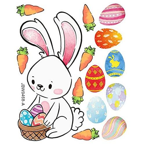Ruluti Ventana De Pascua Pegatinas Feliz Decoraciones De Pascua para Hogar De La Pared del Conejo De Los Huevos De Pascua Etiqueta Pegatinas Etiquetas Caseras De La Decoración