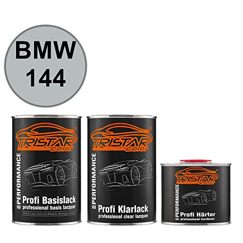 TRISTARcolor Autolack Set Dose spritzfertig für BMW 144 Felgensilber Metallic Basislack + 2K Klarlack 2,5L