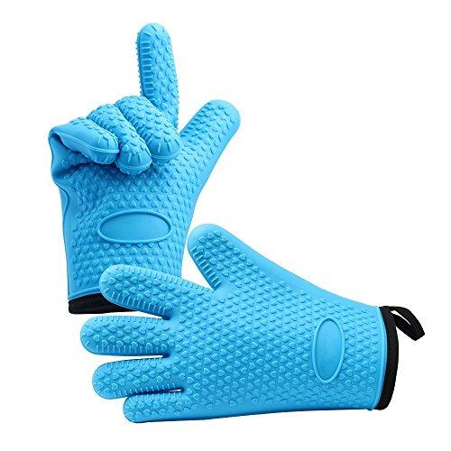 Guanti da forno professionali in silicone con strato protettivo in cotone, resistenti al calore, per barbecue, cucina e cucina, colore: blu (B)