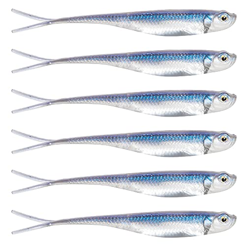 Dr.Fish Lot 6 Soft Plastic Swimbait Fluke Tail Soft Lure Jerk Shad Wiggle Fishing Lure Bass Perch 3in Blue Suggest a change