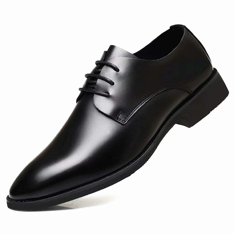 [Flova] ビジネスシューズ メンズ ワーク 革靴 紳士靴 レースアップ 通学 通勤 フォーマル 通気性 営業マン 冠婚葬祭 黒 ブラック 24-27cm