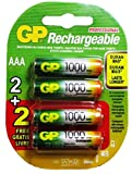 GP Recyko AAA NiMH Pre-Charged Rechargable 1.2v 1000mAh 2 Batteries + 2 Free Total of 4 Batteries