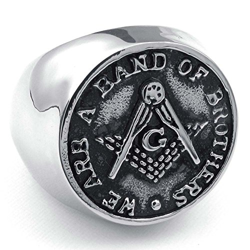 Masonic Rings for Men - Freemason Ring/Masonic Rings Cheap - Steel Band - We are a Band of Brothers - Freemasonry Coin Style Design (Masonic Jewelry) (Size 10)
