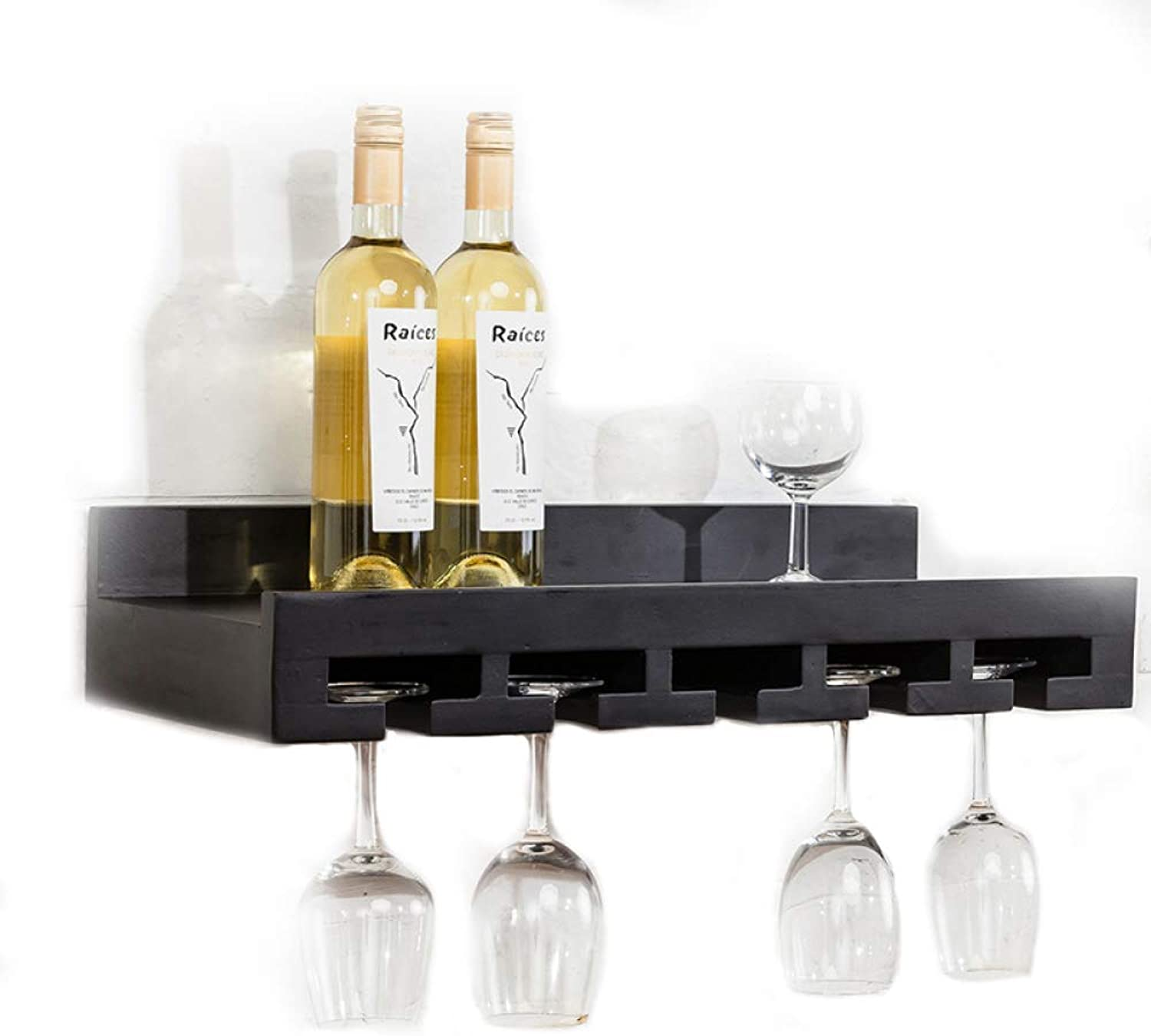 Vintage Wall-Mounted Solid Wood Wine Cabinet Wine Storage Rack,Restaurant Bar Home Wall Shelf,F