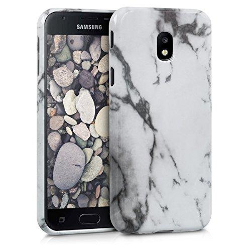 kwmobile Samsung Galaxy J3 (2017) DUOS Hülle - Handyhülle für Samsung Galaxy J3 (2017) DUOS - Handy Case in Marmor Design Weiß Schwarz