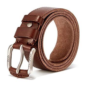 Vintage Genuine Men s Casual Leather Belt Causal Dress Belt Golf belt - Men s Belt Adjustable Trim to Exact Fit
