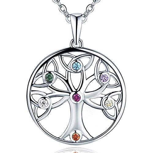 JO WISDOM Collar Colgante Arbol de la vida Plata de ley 925 Cristales Swarovski 7 Chakra Mujer Joyería
