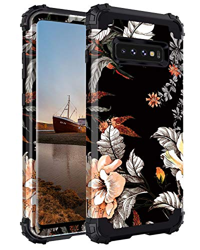 Casetego Compatible with Galaxy S10 Case,Floral Three Layer Heavy Duty Hybrid Sturdy Shockproof Full Body Protective Cover Case for Samsung Galaxy S10,Orange Flower/Black