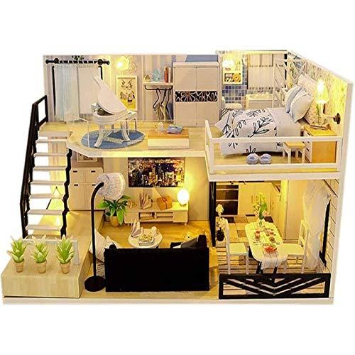 ZHANG DIY Loft Villa Casa de Muñecas Modelo Casa de Muñecas en Miniatura con Muebles a Prueba de Polvo Kit de Luces LED Juguete Navidad Regalo de Cumpleaños para Niños