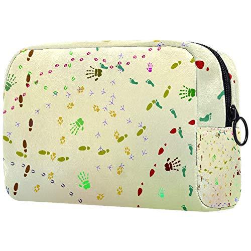 Bolsa de viaje para cosméticos portátil, partición ajustable, utilizada para brochas de maquillaje, huellas de animales y huellas de zapatos
