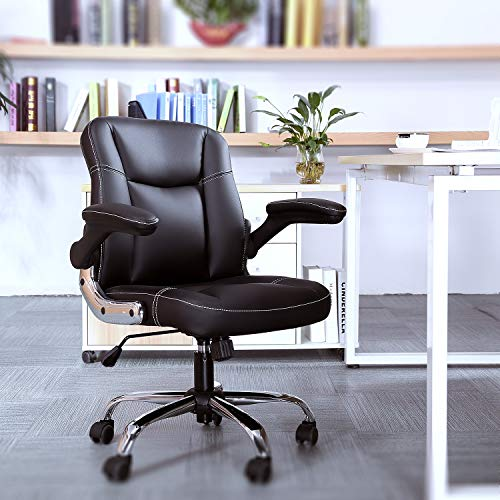 Mid-Back Ergonomic Office Faux PU Leather Chair Executive Computer Desk Chairs Managerial Executive Chairs