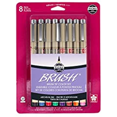 Pigma brush pen set Archival quality ink is chemically stable, waterproof and fade resistant No smears, feathers, or bleed-through on most papers Thorough ink delivery to the sides and tip of the flexible brush Set consists of 1 each of black, red, b...