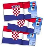Karten- und Ausweishüllen cardbox /// Motiv: Kroatien Fahne/Kroatische Flagge /// 3er Set /// Kreditkartenhülle, Bankkartenhülle, Hülle für Gutscheine