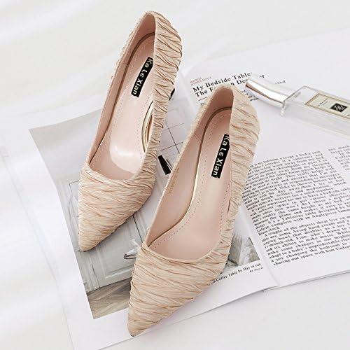 Xue Qiqi 5cm y versátil boca superficial solo zapatos con la madre, y zapatos de mujer Señaló zapatos de tacón fino con,34, 5 cm de Color champán