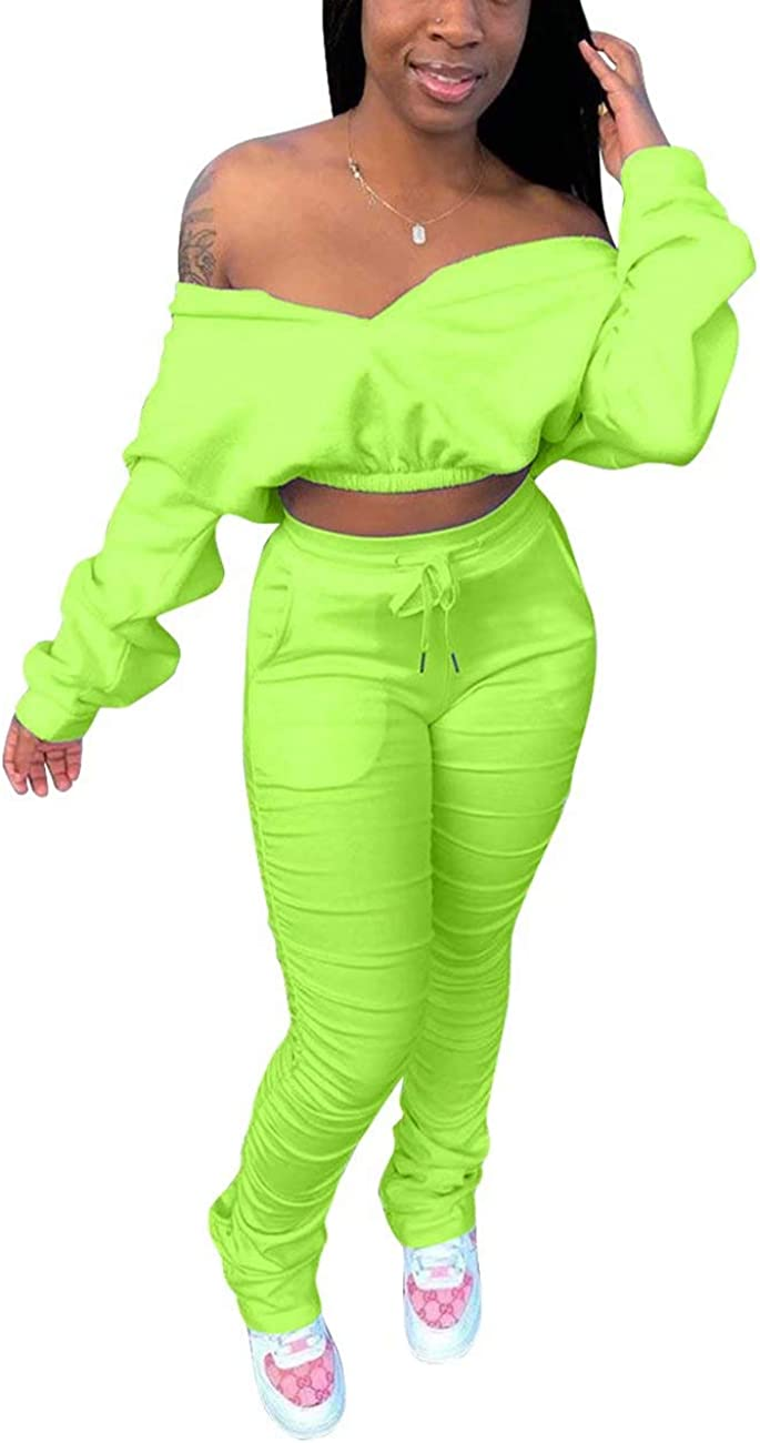 Women Two Piece Outfits Off Shoulder unisex Long Wholesale Bodyco Sleeve Crop Top