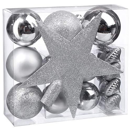 Feerie Christmas Kit de décorations pour Sapin de noël - 18 Pièces - Argent