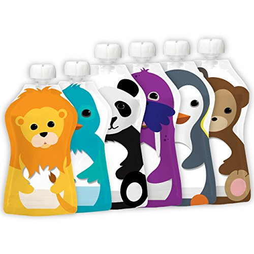 Squooshi Reusable Food Pouch - 2 Sizes - 4 Large 5 Ounce Pouches + 2...