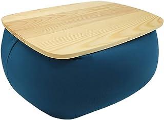 RAKU ビーズクッション 膝上テーブル 日本製ビーズ テーブルクッション カバー洗える 枕 背もたれ デスク 机 膝上作業 膝上 車 ベッド ソファー PC作業 持ち運び便利 天然木製 三色 ブラウン グレー ブルー (ブルー)