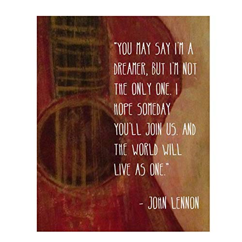 "John Lennon Song Lyrics Wall Art- ""Imagine- You May Say I'm a Dreamer!""- 8 x 10 Art Print Ready to Frame. Modern Home Décor- Office Décor. Perfect Gift for Musicians, Beatles Fans & Inspiration."