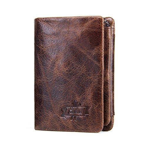 Contatti Portafoglio in vera pelle per gli uomini Bifold Trifold Caso di Carta di Credito