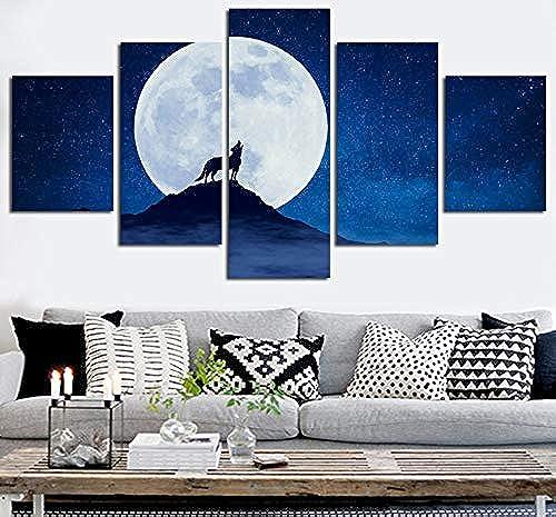 seguro de calidad HMKLN Space Moon Conjunto de Lienzo Arte Arte Arte de la Parojo Pinturas de la Lona del Lobo Imagen Modular para la Sala de Estar Decoración del Hogar Imágenes Pintura Abstracta  sin mínimo