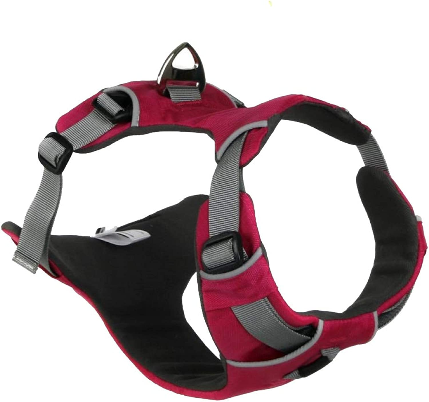 Embark Active Dog Harness, Easy On And Off With Front And Back Lead Attachments Control Handle  No Pull Training, Size Adjustable,PinkL