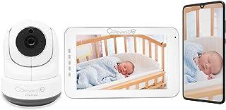 Callowesse© SmartView 5 inch Video-babyfoon en smartphone-verbinding. Draadloos opladen touchscreen boveneenheid, Pan-Til...