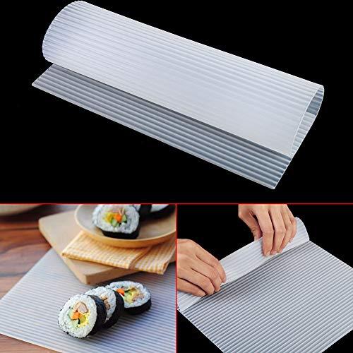 Aeloa Tapis de sushi, Tapis roulant Gâteau Silicone Déjeuner Sushi Moule pour Cake Rolls Four Mat (Blanc)