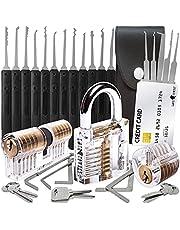 30-Delige Lock Picking Set met 3 Transparante Training Sloten en Credit Card Lock Pick Tool Kit van Lock Cowboy + Handleiding voor Beginner en Pro Slotenmakers