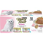 Purina Fancy Feast Grain Free Pate Wet Kitten Food Variety Pack, Kitten Classic Pate Collection Turkey & Whitefish - (2 Packs of 12) 3 oz. Cans