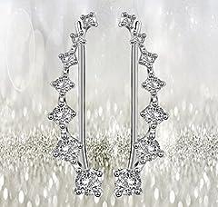 Elensan 7 Crystals Ear Cuffs Hoop Climber S925 Sterling Silver Earrings Hypoallergenic Earring #3