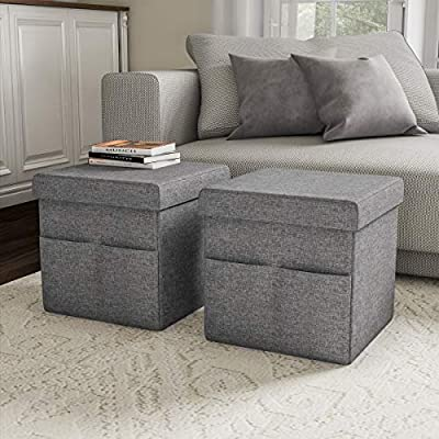 Lavish Home Foldable Storage Cube Ottoman with Pockets – Multipurpose Footrest Organizer for Bedroom, Living Room, Dorm or RV (Pair, Charcoal Gray), from Trademark