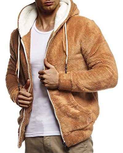 Leif Nelson Herren Sweatjacke Teddy Fleece Jacke mit Kapuze Freizeitjacke für Männer Kapuzenjacke Hoodie Übergangsjacke LN20115 Größe L Camel